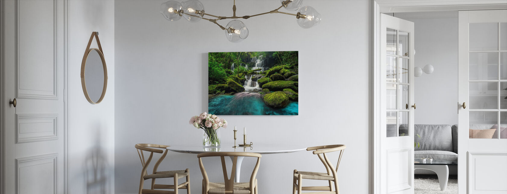 Waterfall in Green Forest - Canvas print - Kitchen