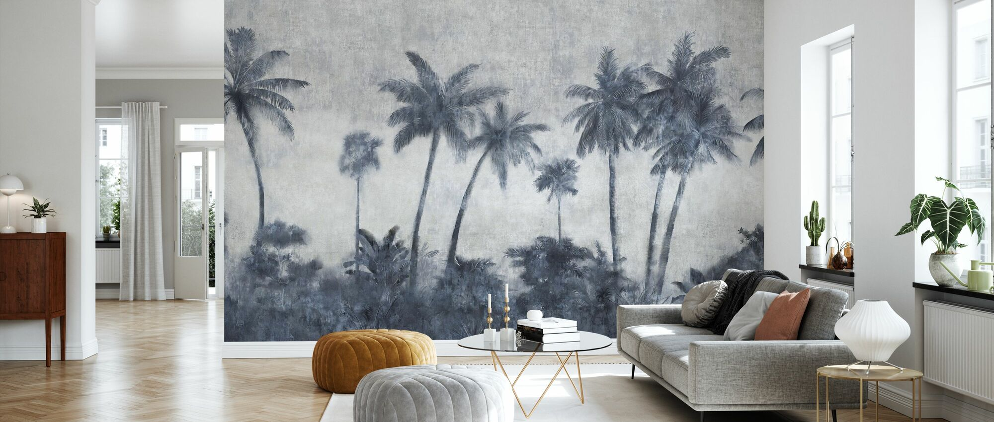 California Palmes on Concrete - Wallpaper - Living Room