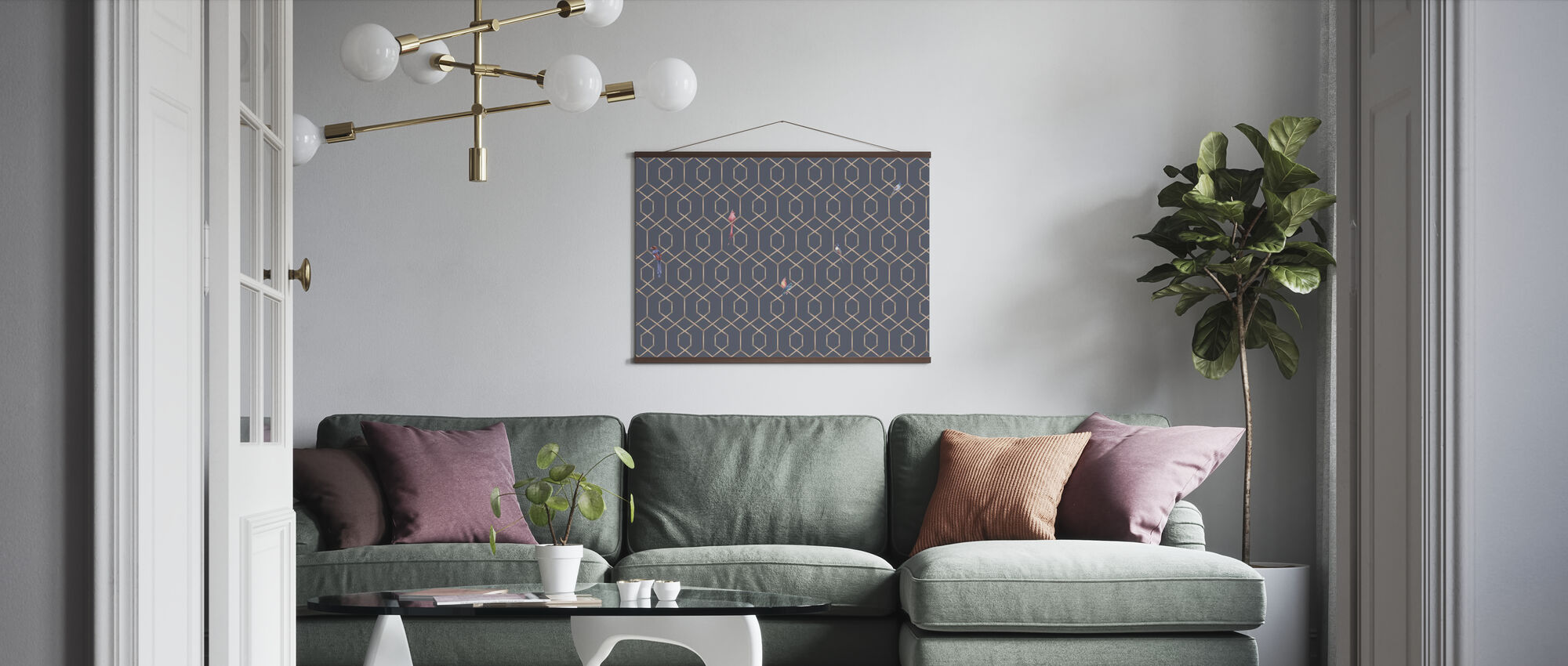 Scalet´s Bamboo Web - Ash Blue - Poster - Living Room