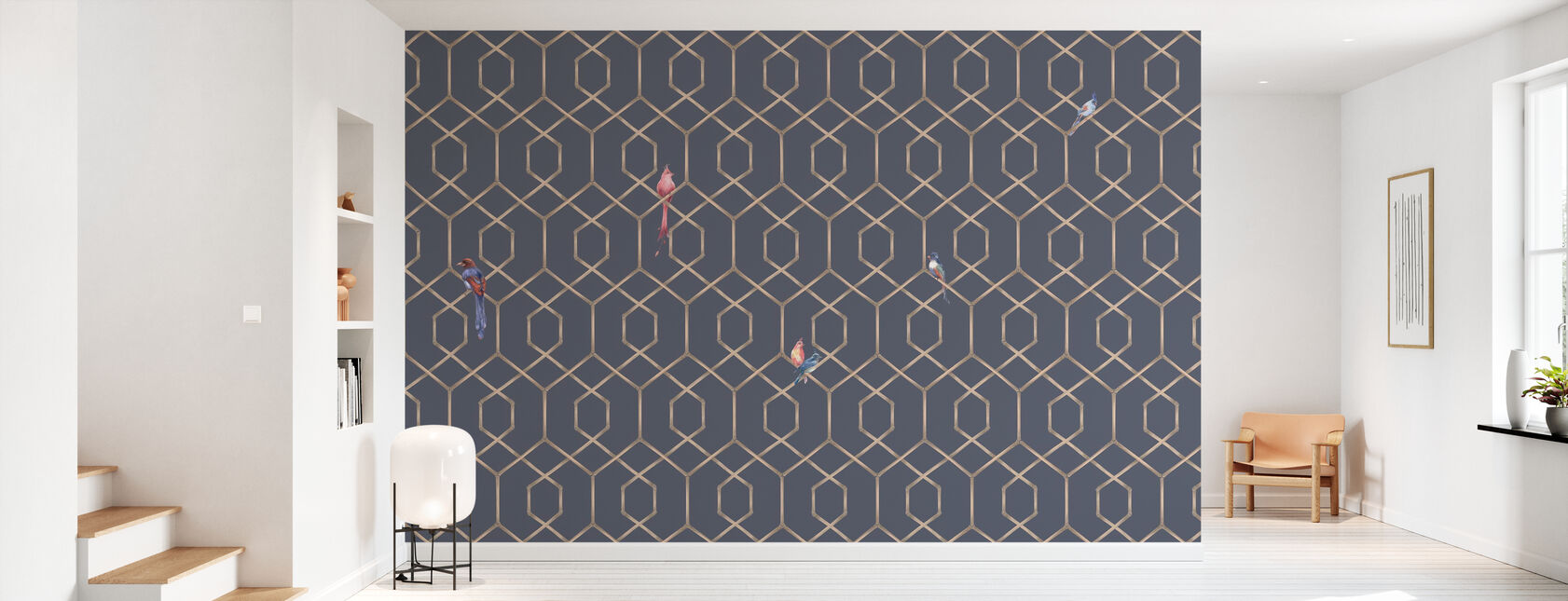 Scalet´s Bamboo Web - Ash Blue - Wallpaper - Hallway