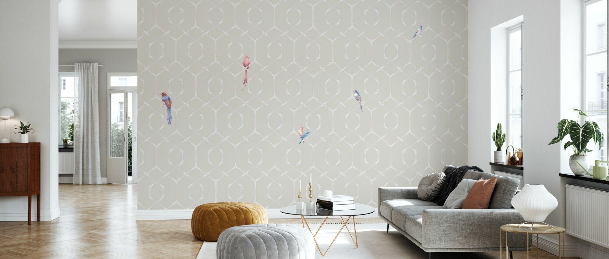 Scalet's Bamboo Web - Powder Pink - Tapete - Wohnzimmer