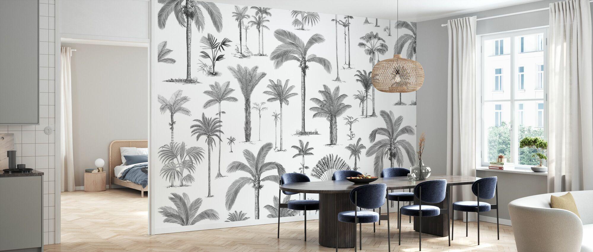 Braziliaanse palmen - bw - Behang - Keuken