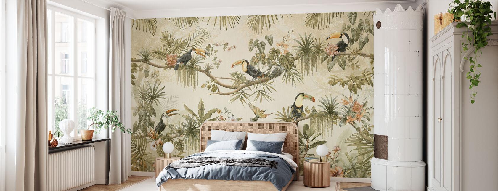 Parrot Friends - Sepia - Wallpaper - Bedroom