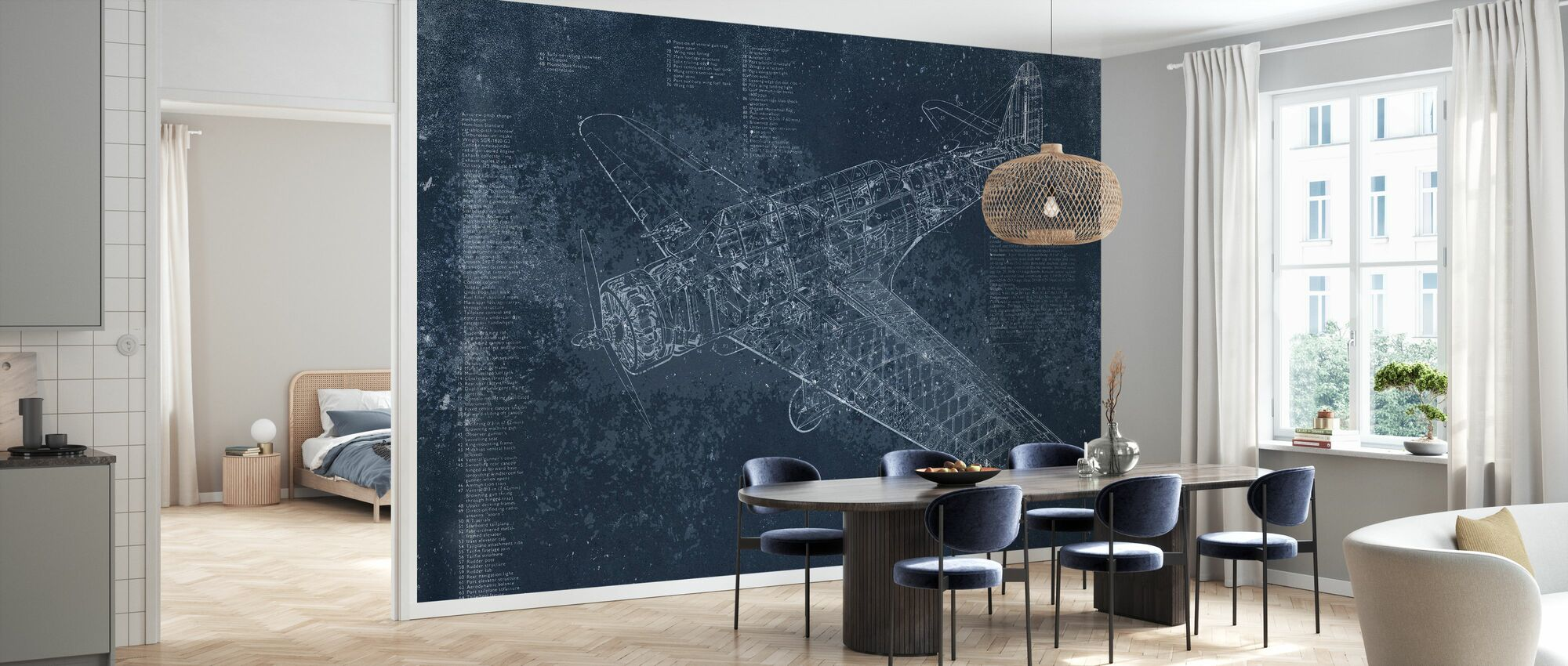 Retro Airplane - Dark Blue - Wallpaper - Kitchen