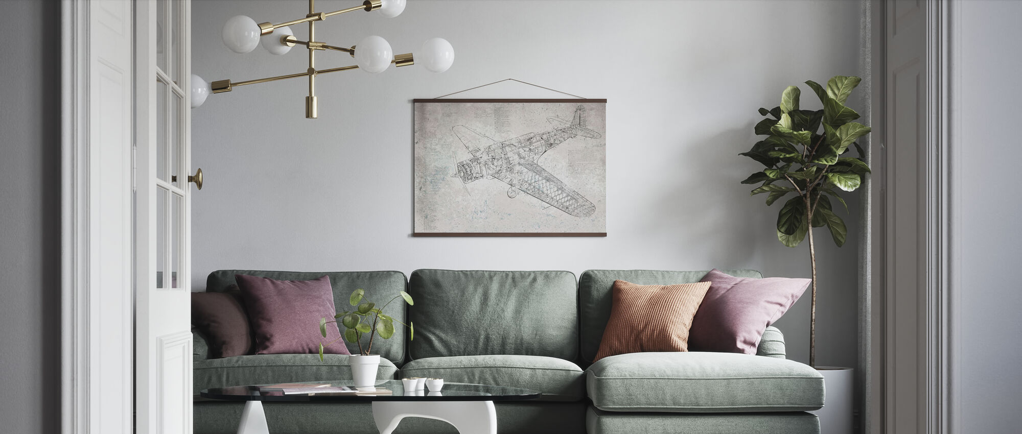 Retro Airplane - Poster - Living Room