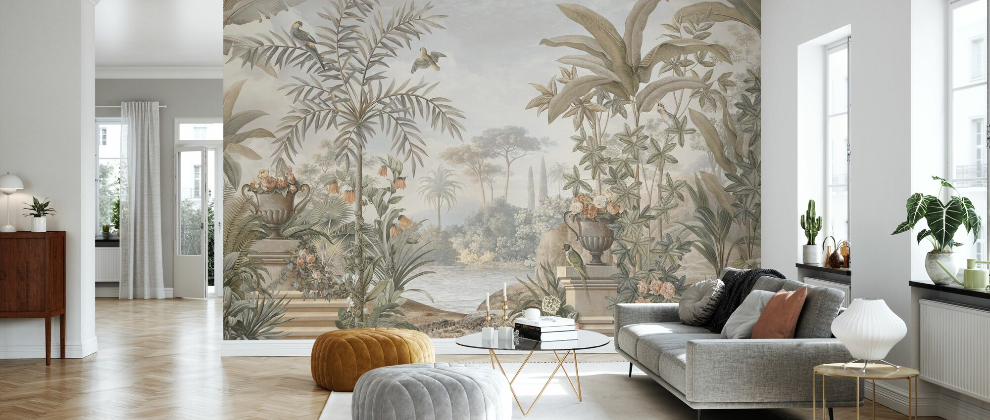Tropical Patio - Sepia - Wallpaper - Living Room