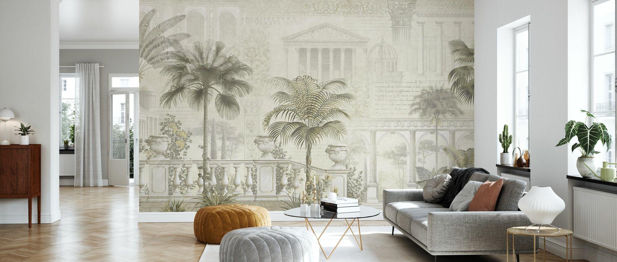 Tropical Residence - Sepia - Wallpaper - Living Room