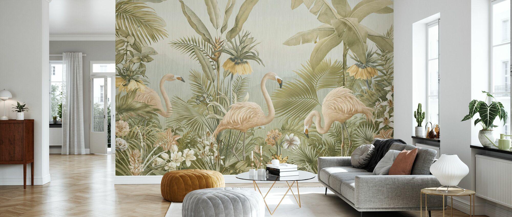Flamingo Eden - Sepia - Tapet - Stue