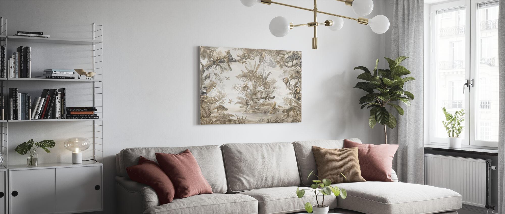 Jungle Hangout - Sepia - Canvas print - Living Room
