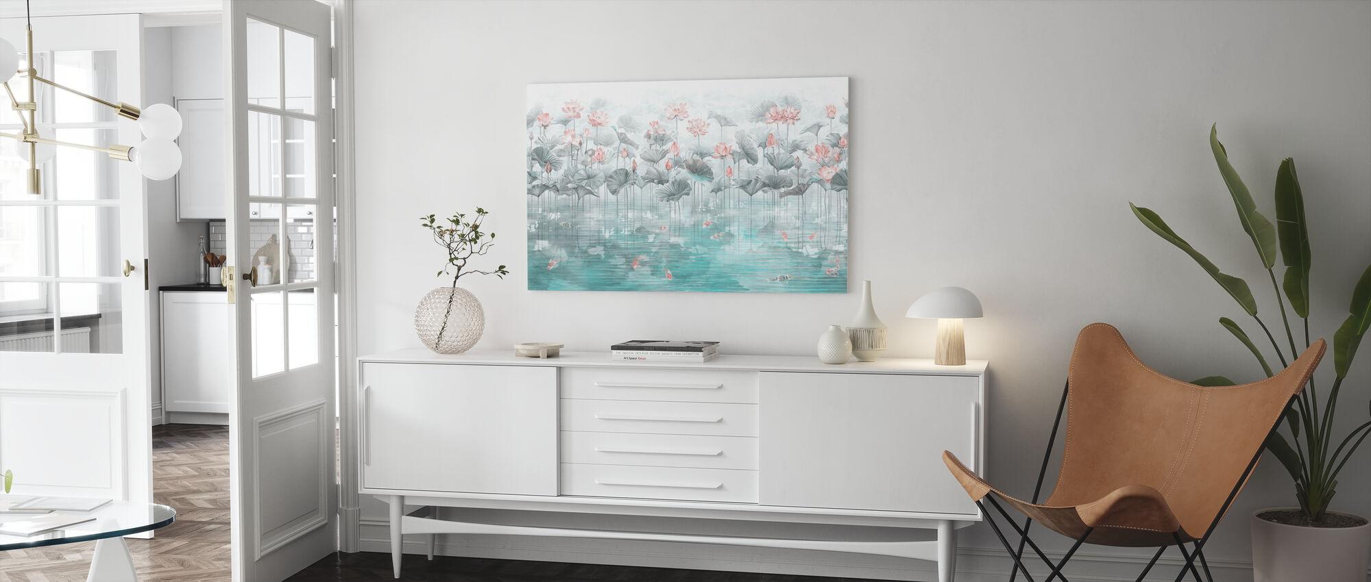 Koi Koi - Blue - Canvas print - Living Room
