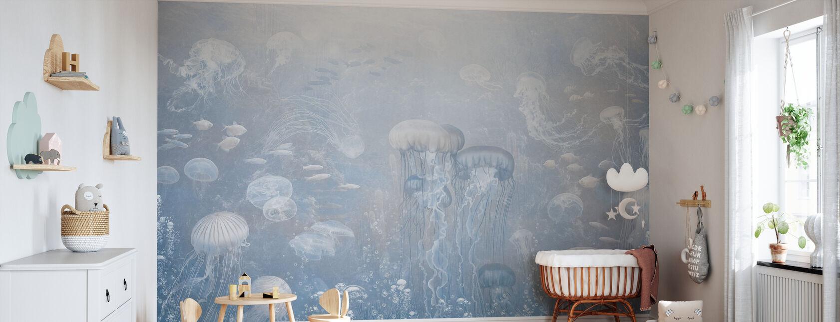 Kwallen Tuin - Blauw - Behang - Babykamer