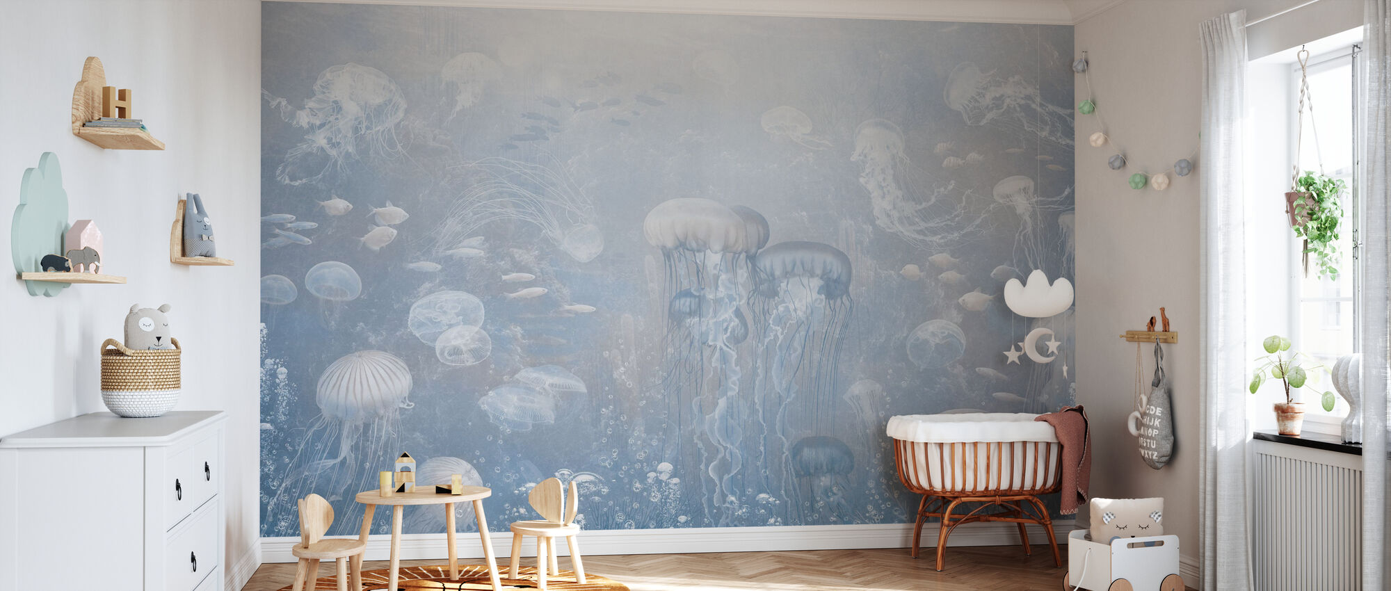 Jellyfish Garden - Blue - Wallpaper - Nursery