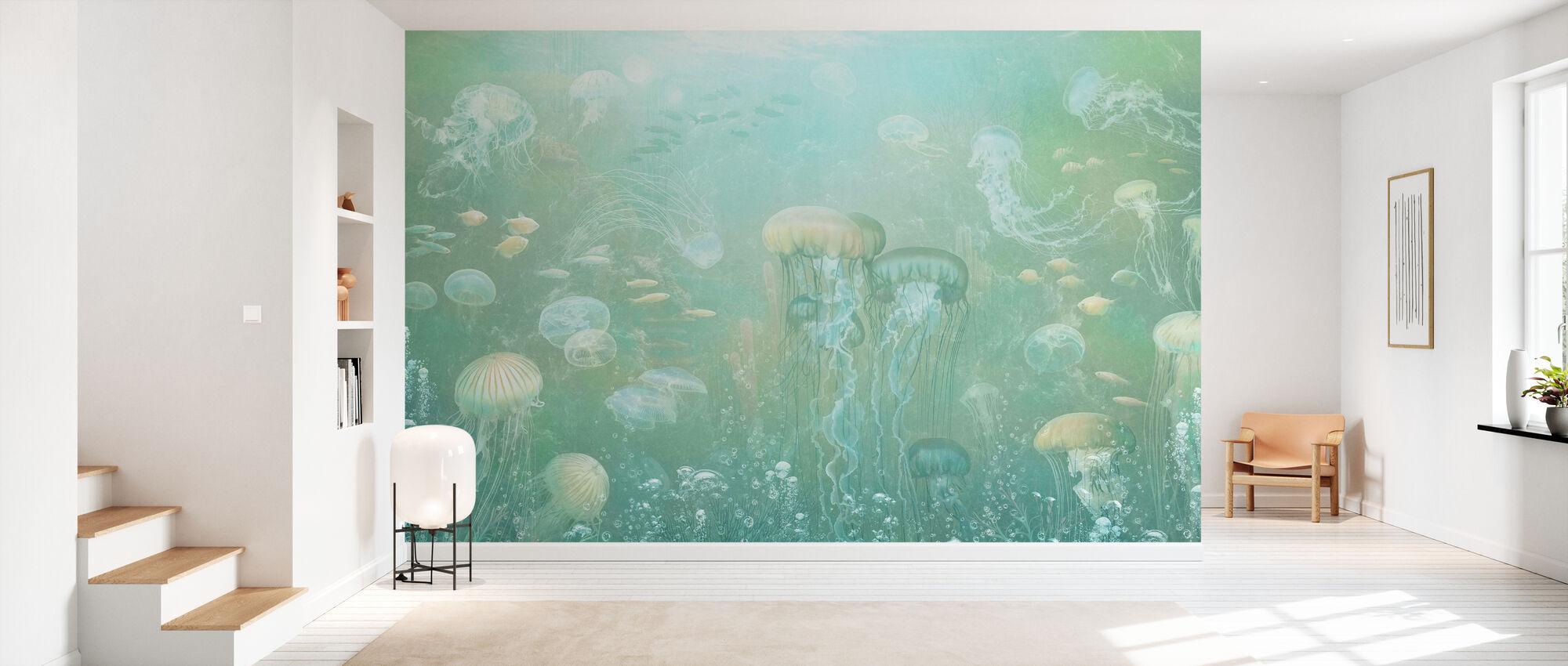 Jellyfish Garden - Verde - Carta da parati - Sala