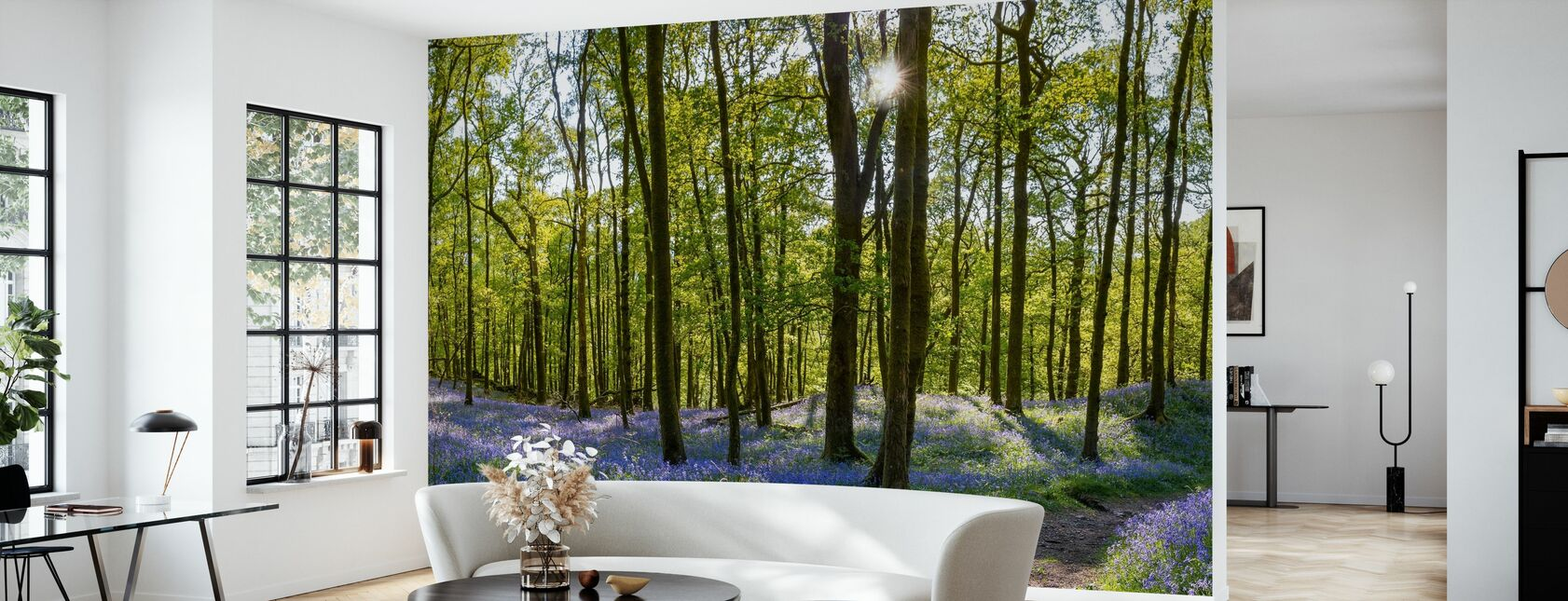 Bluebell Carpets on Woodland - Wallpaper - Living Room