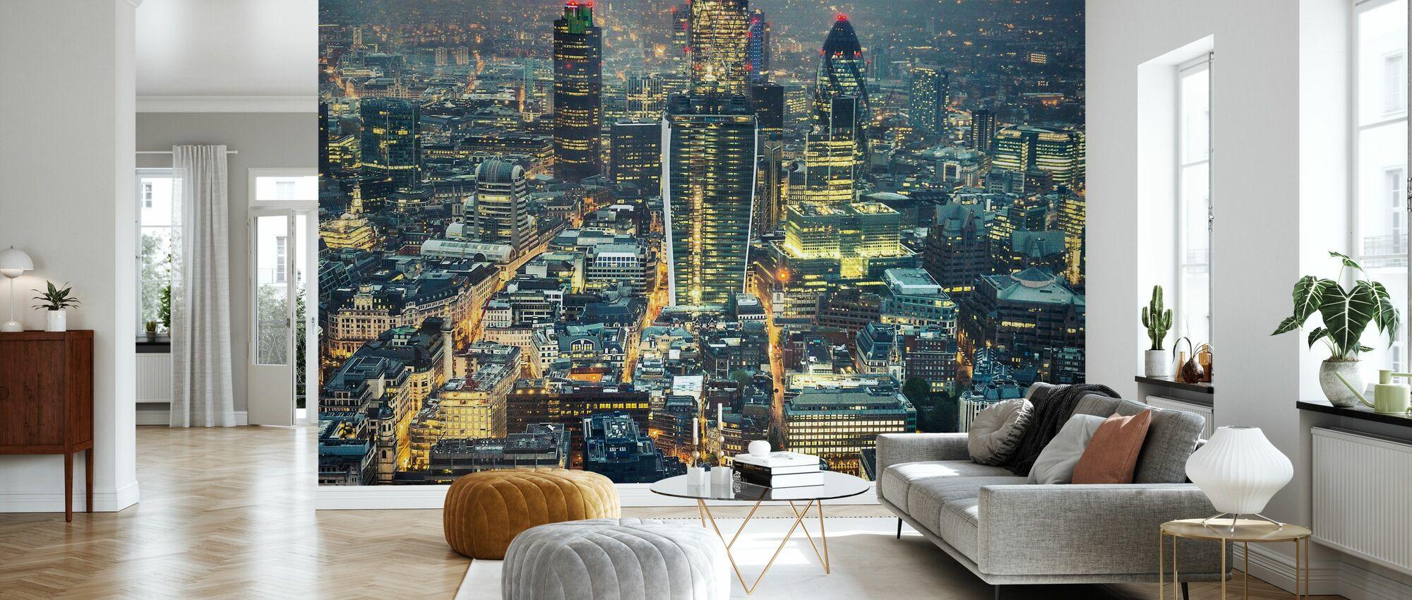London Skyline på natten - Tapet - Stue