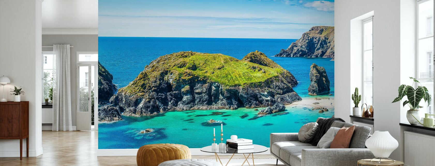 Cornwall Ocean Bay - Wallpaper - Living Room
