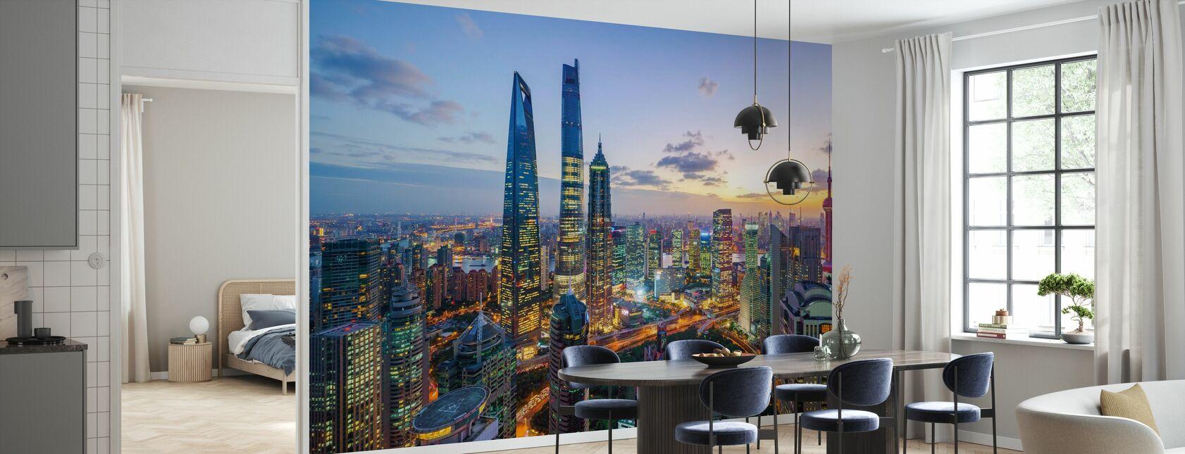 Shanghai Skyline solnedgång - Tapet - Kök