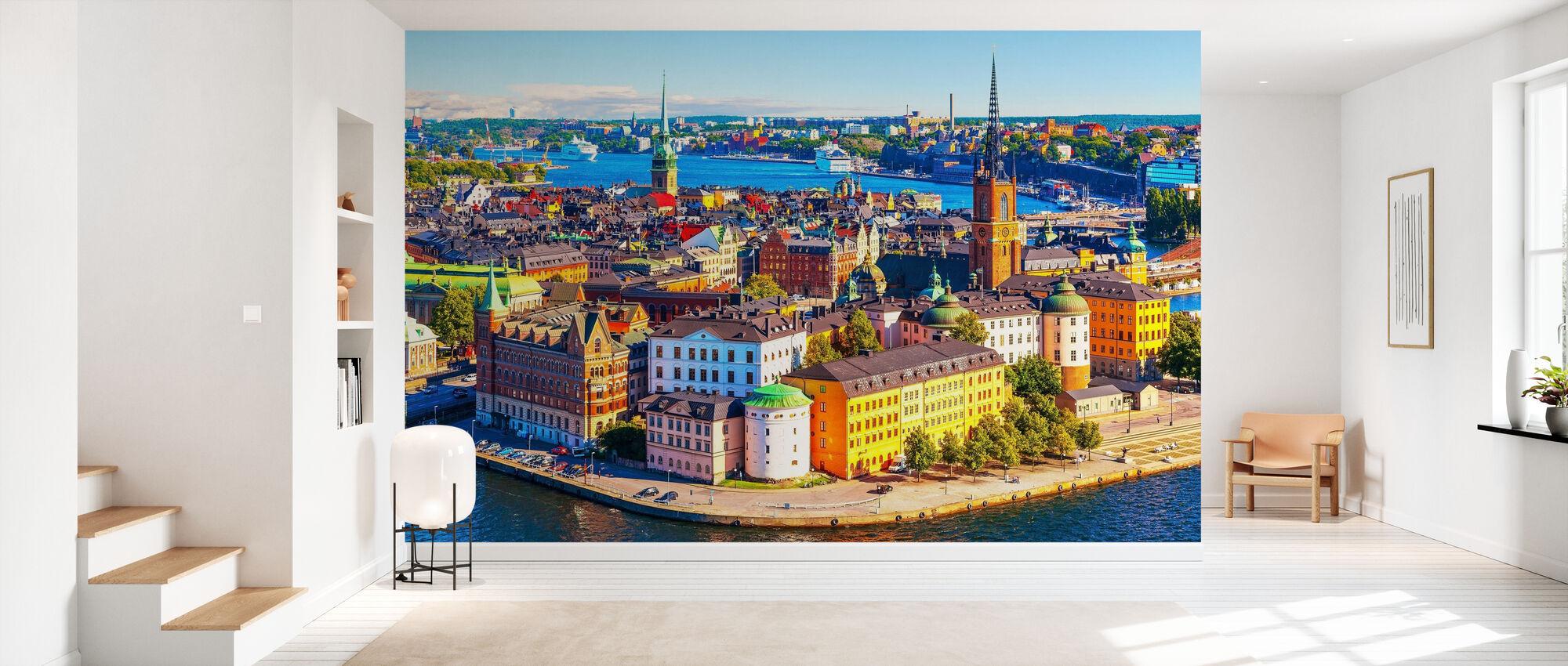 Panorama av Stockholm - Tapet - Hall