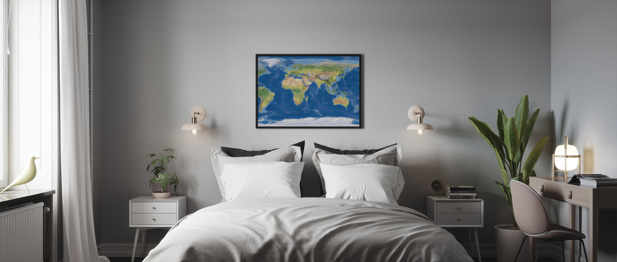 Topografinen Kartta - Kehystetty kuva - Makuuhuone