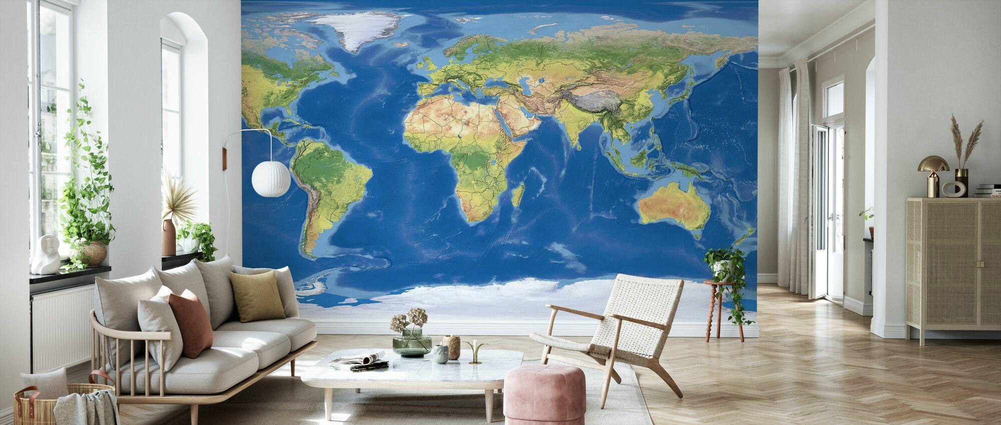 Topographic Map - Wallpaper - Living Room