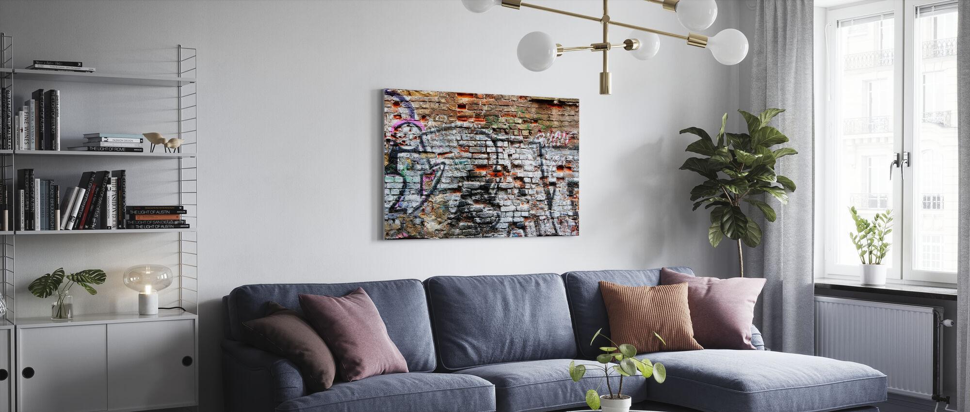 Brick Wall Graffiti - Canvas print - Living Room