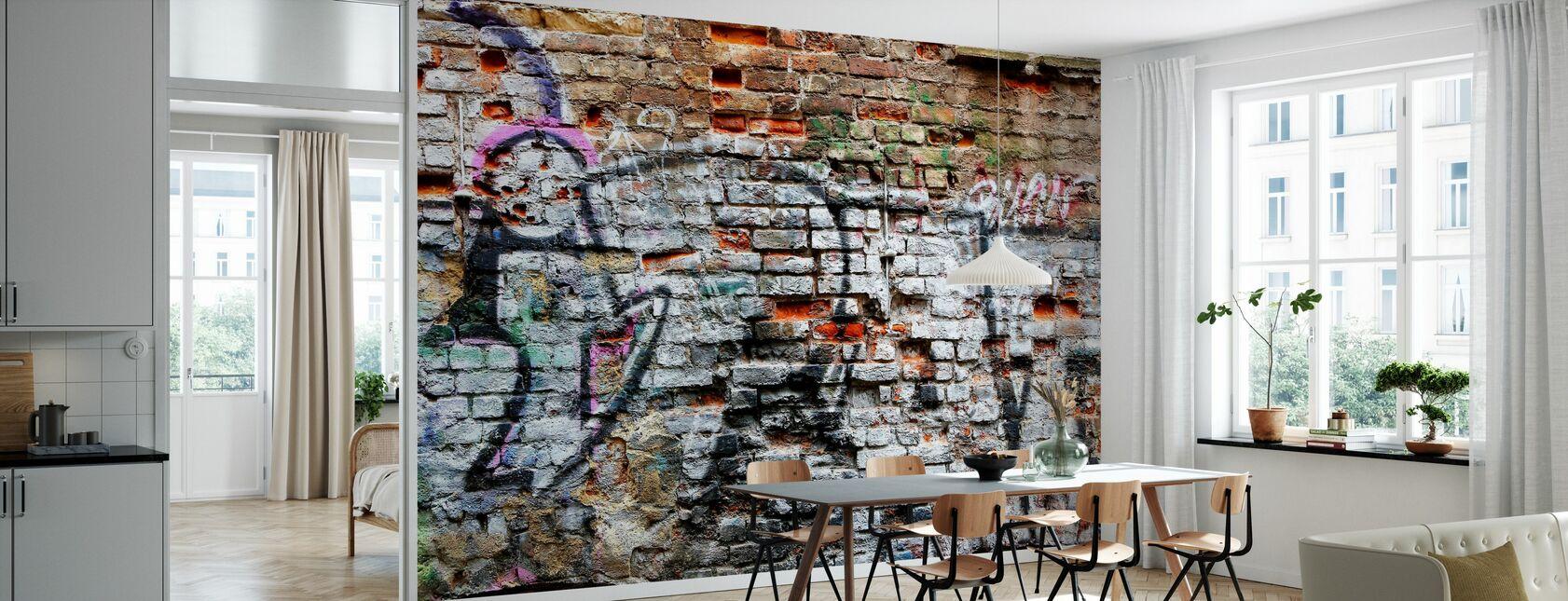 Ziegelmauer Graffiti - Tapete - Küchen