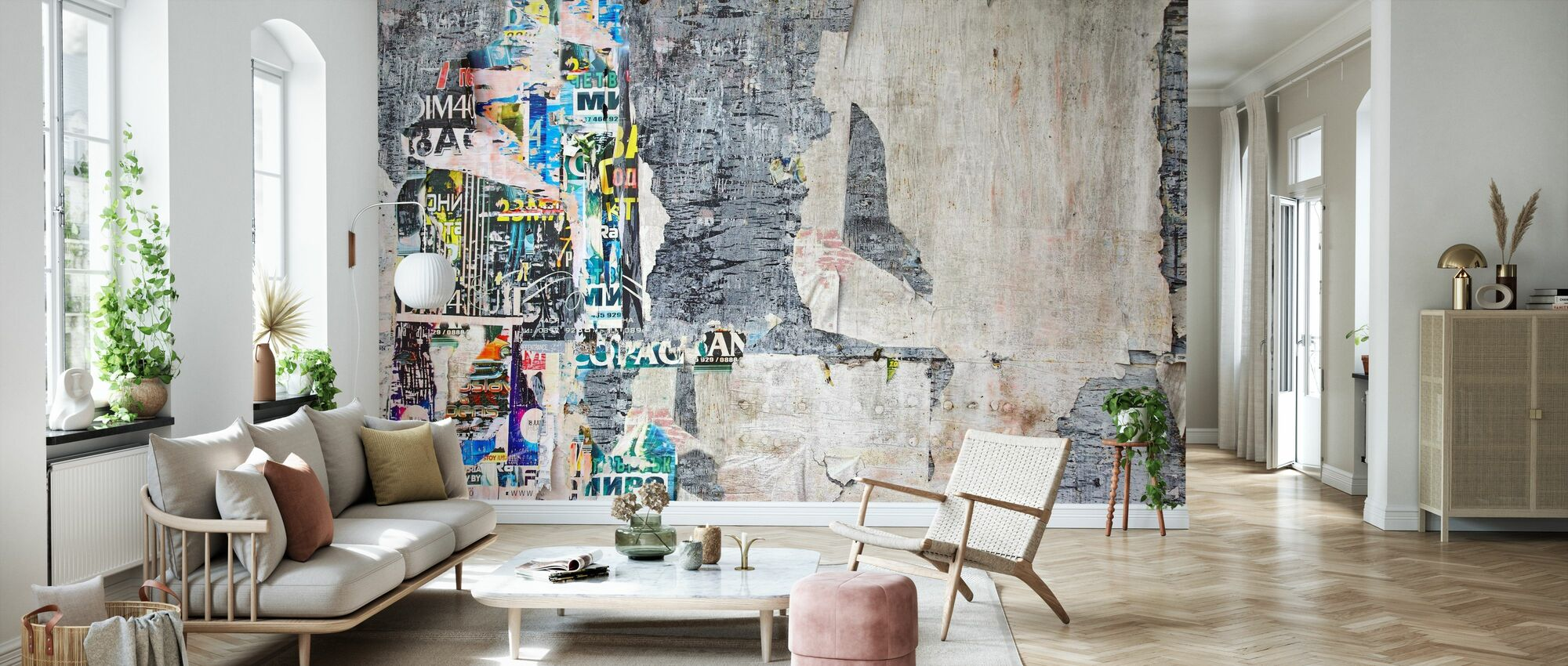 Wood Billboard with Torn Posters - Wallpaper - Living Room
