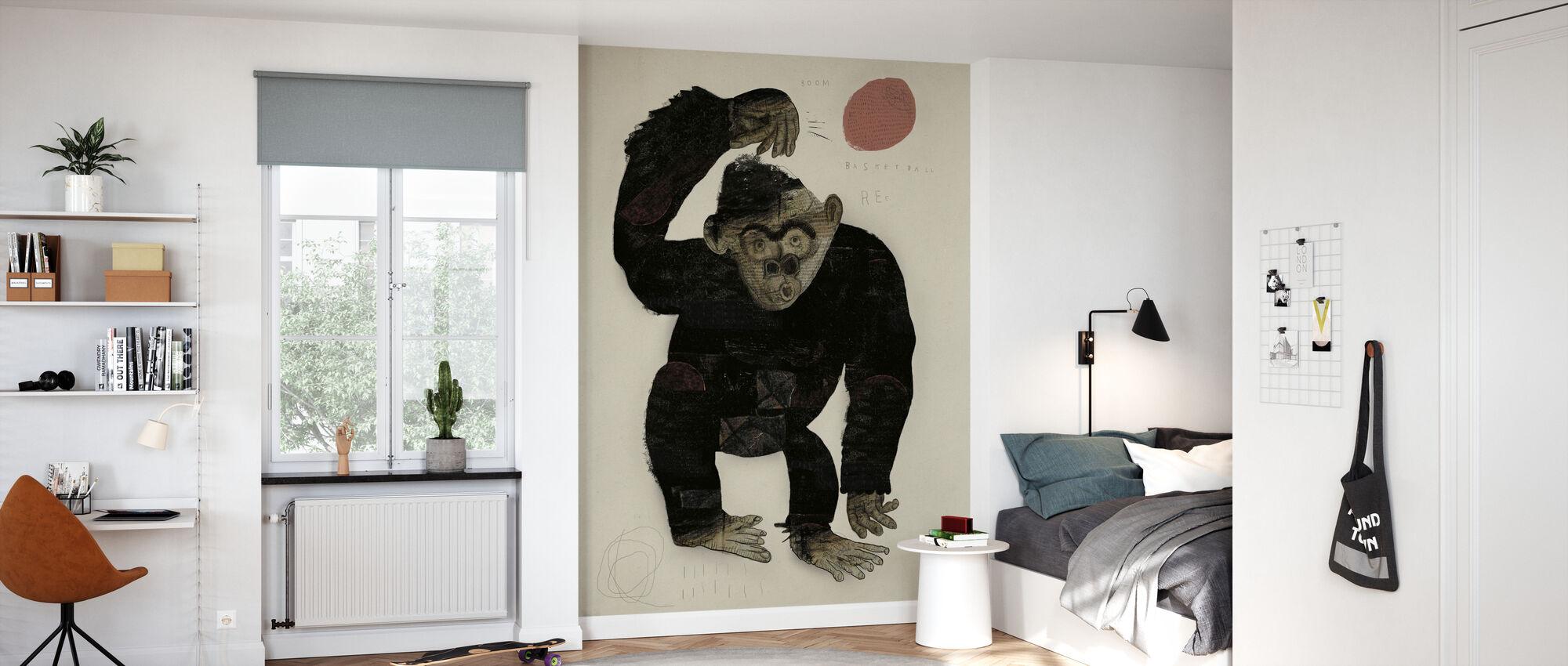 Monkey Basketbal - Behang - Kinderkamer