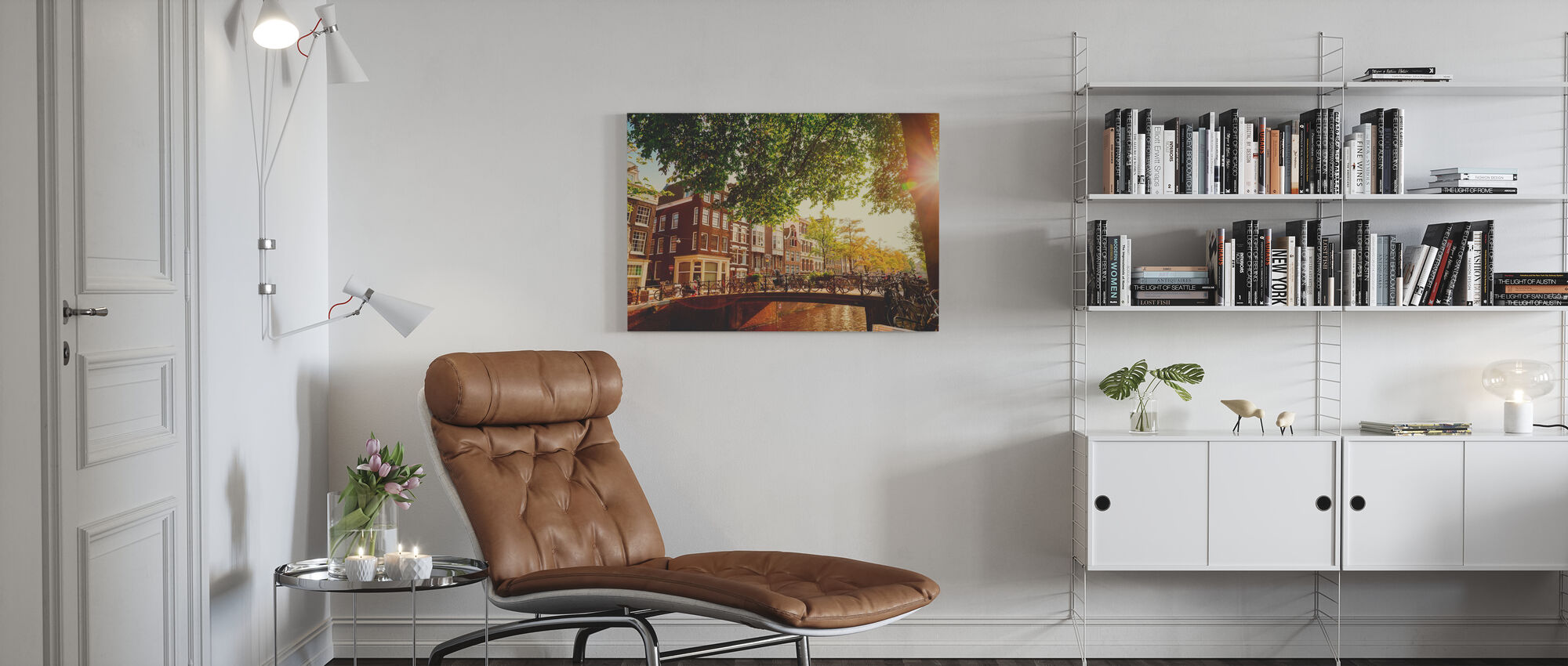 Bridge in Amsterdam - Canvas print - Living Room