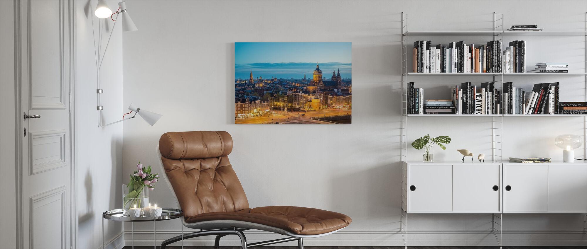 Amsterdam Skyline bei Nacht - Leinwandbild - Wohnzimmer