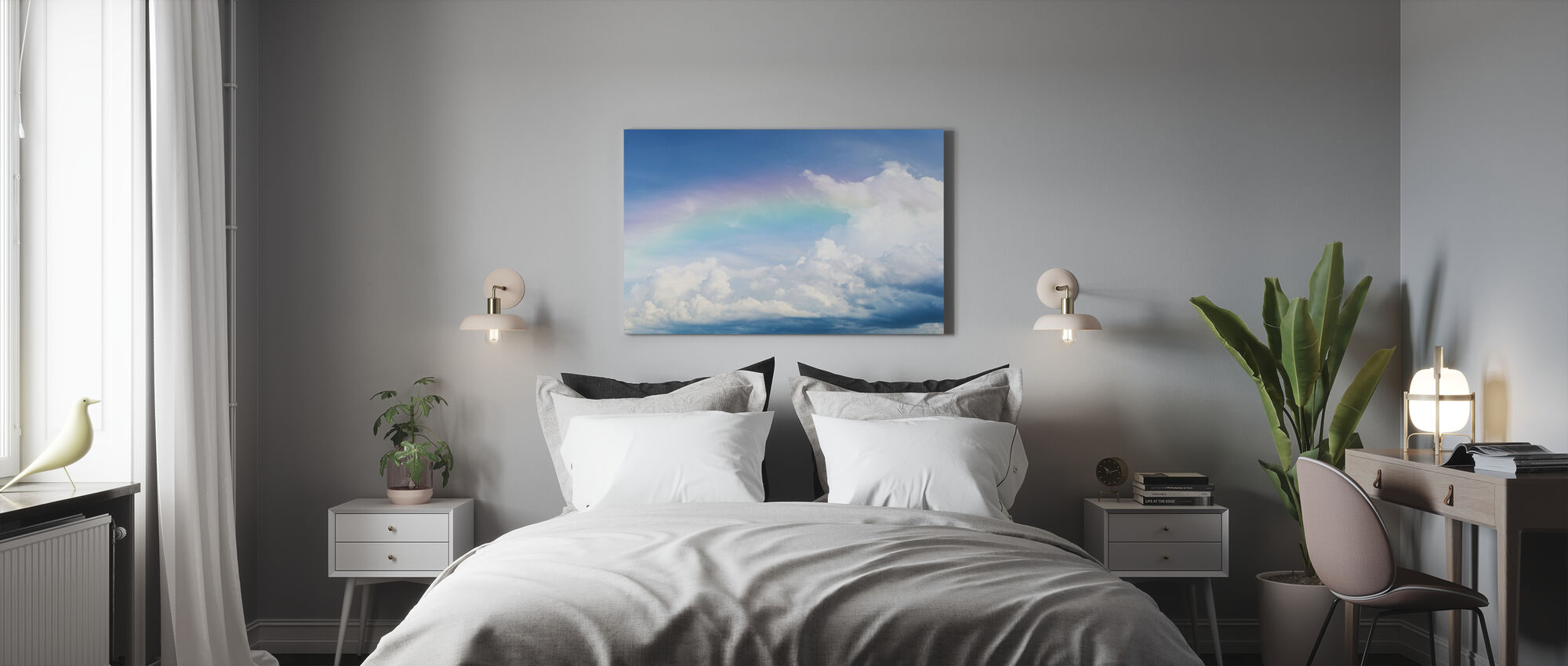 Rainbow on Cloudy Sky - Canvas print - Bedroom