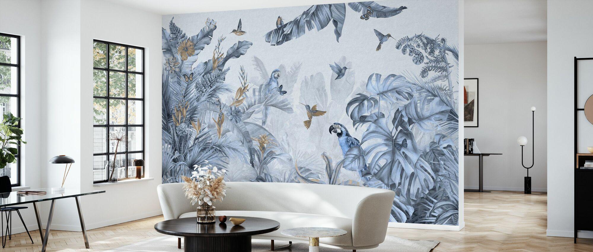 Parrots Paradise - Blue - Wallpaper - Living Room