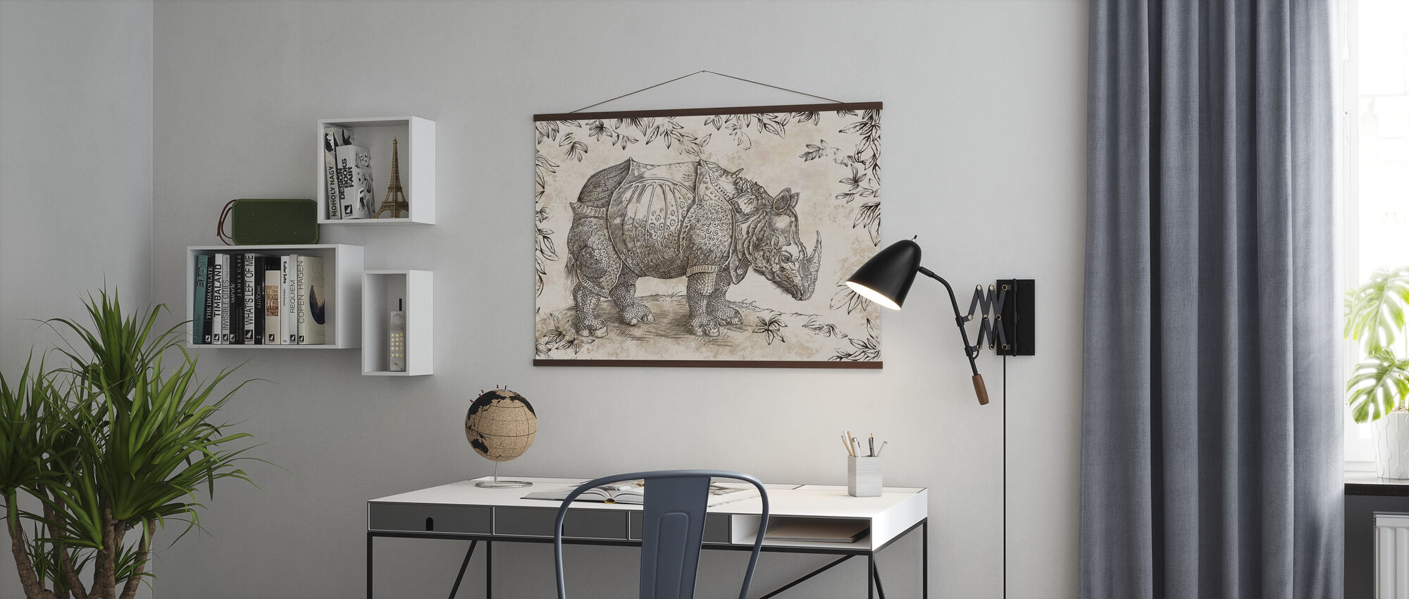 Rhino - Sepia - Poster - Office