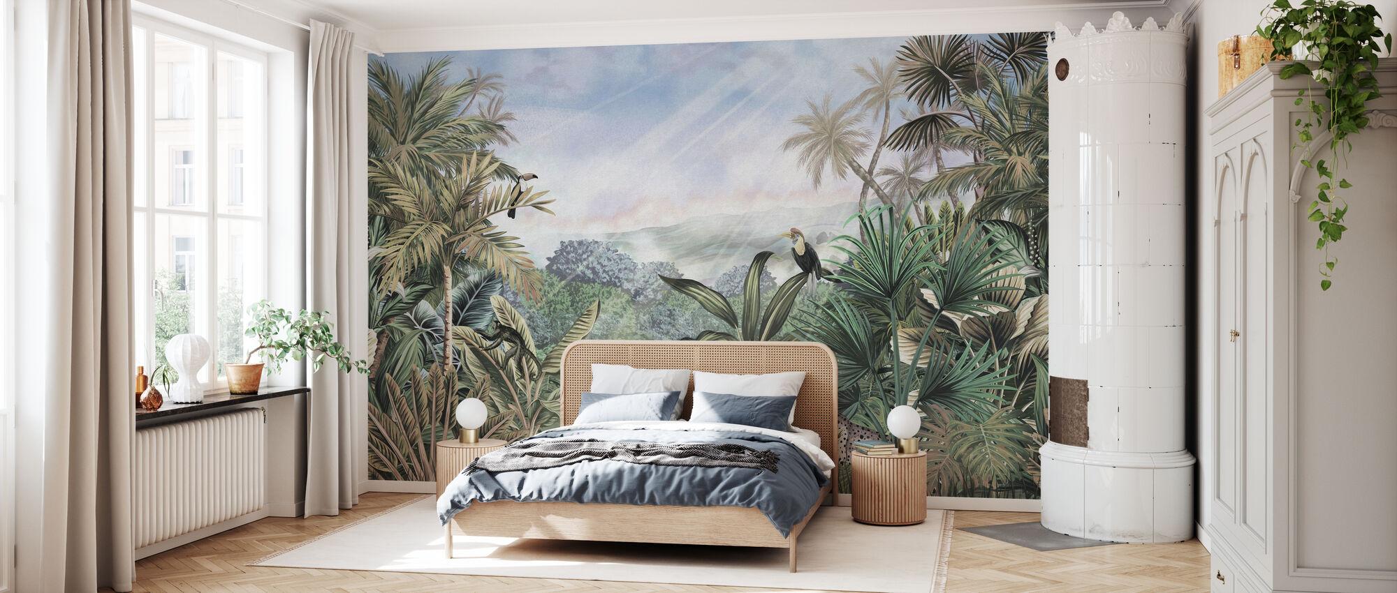 Day in Jungle - Green - Wallpaper - Bedroom