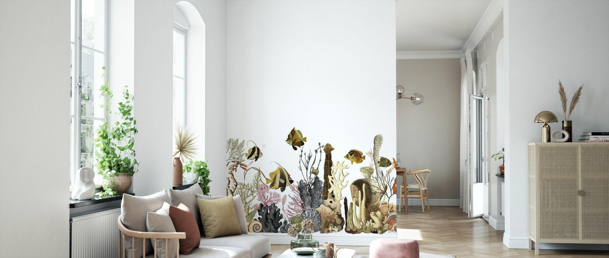 Aquarius - White - Wallpaper - Living Room