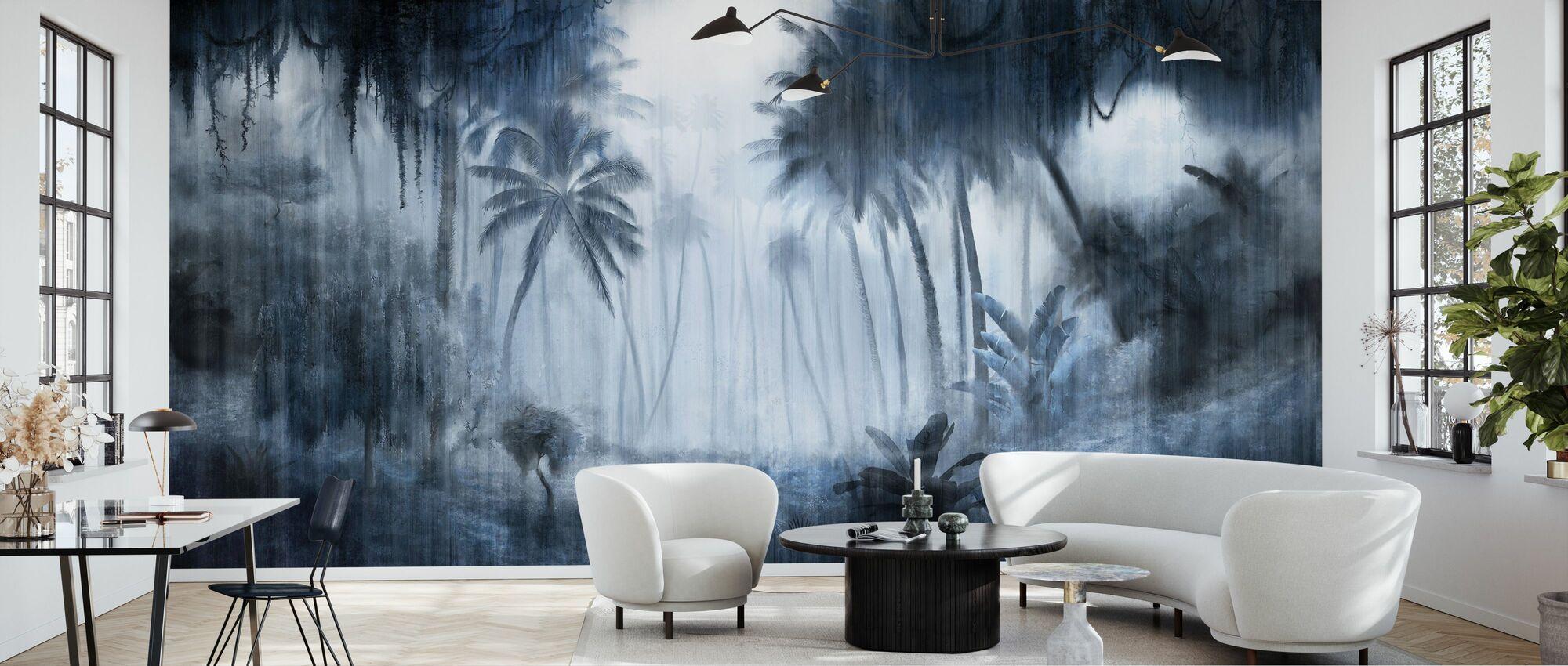 Definitive Tropical - Indigo - Wallpaper - Living Room