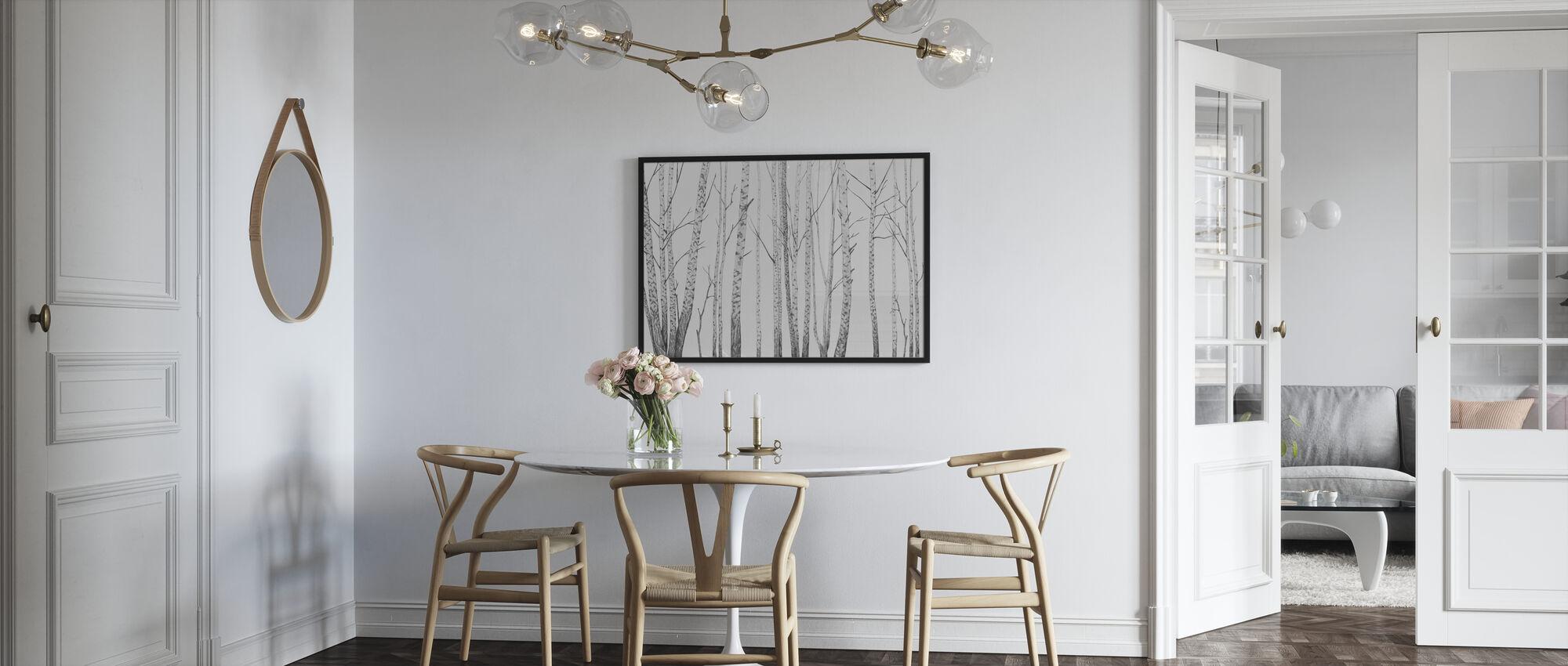 Birch Stems - bw - Poster - Kitchen