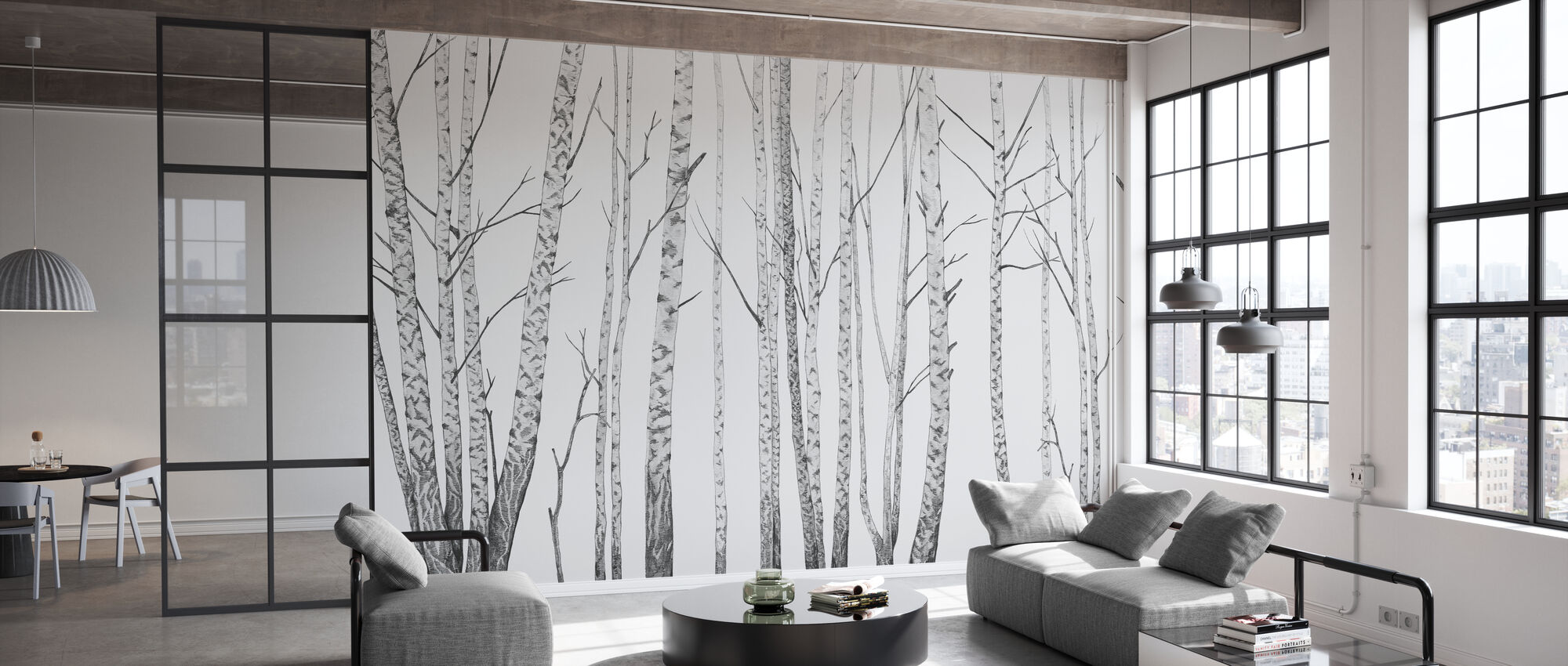Birch Stems - bw - Wallpaper - Office