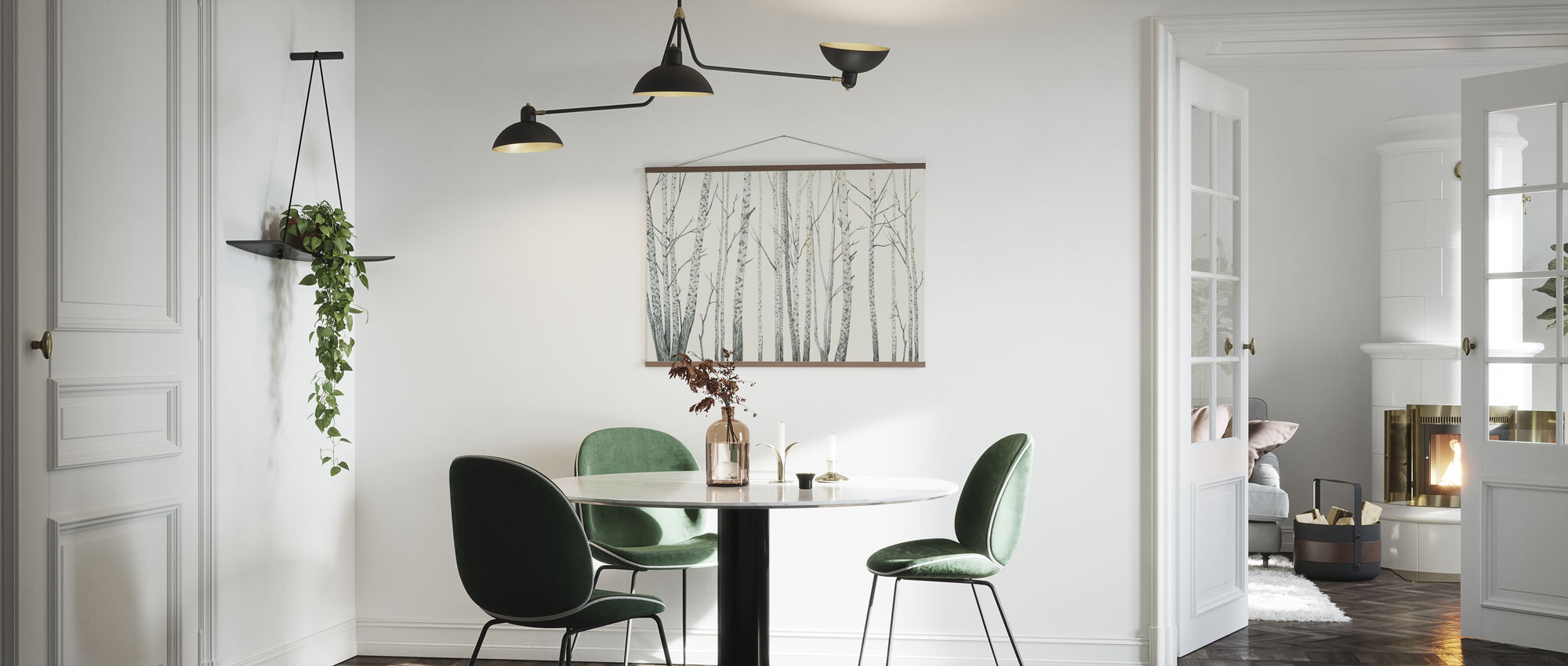Birke Stiele - Creme - Poster - Küchen