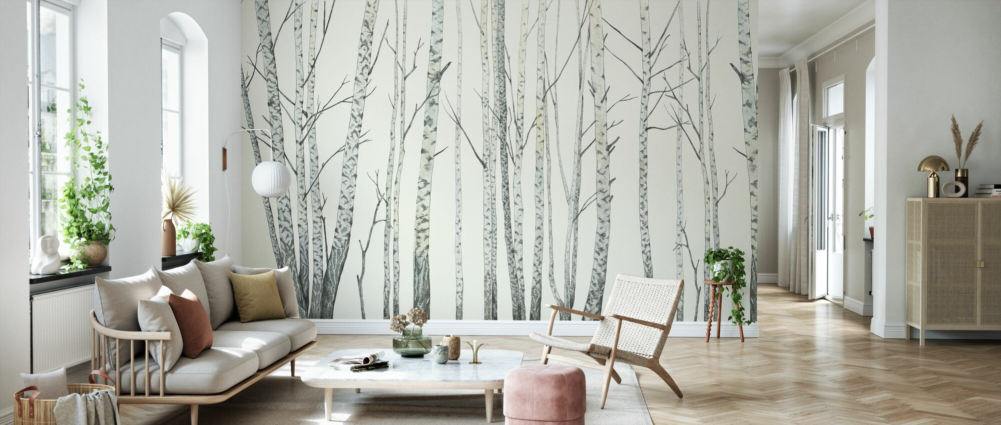 Birch Stems - Cream - Wallpaper - Living Room