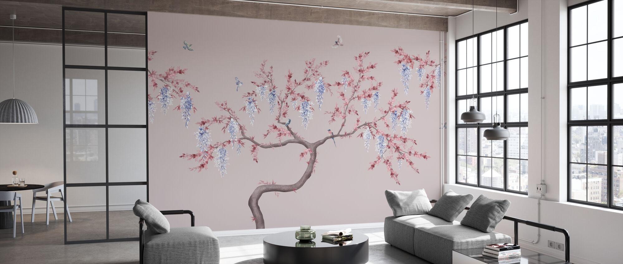 Ineffable Baum - Rosa Blau - Tapete - Büro
