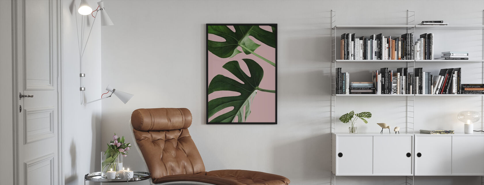 Vaaleanpunaiset palmunlehdet - Juliste - Olohuone