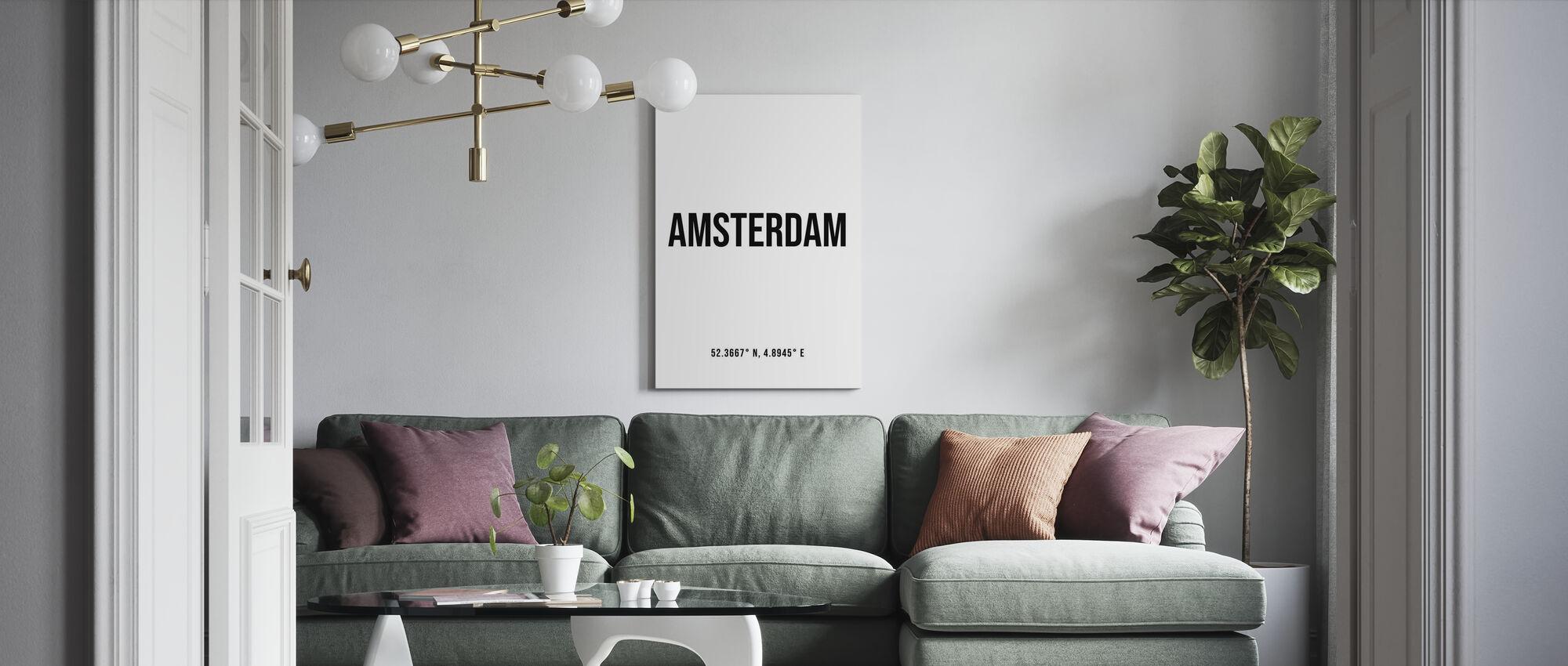 Amsterdam Koordinaten - Leinwandbild - Wohnzimmer
