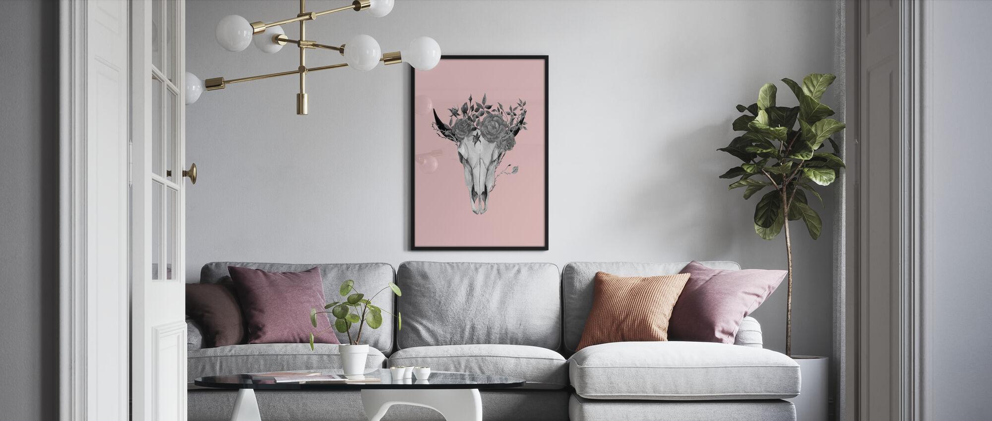 Blume Schädel - Poster - Wohnzimmer