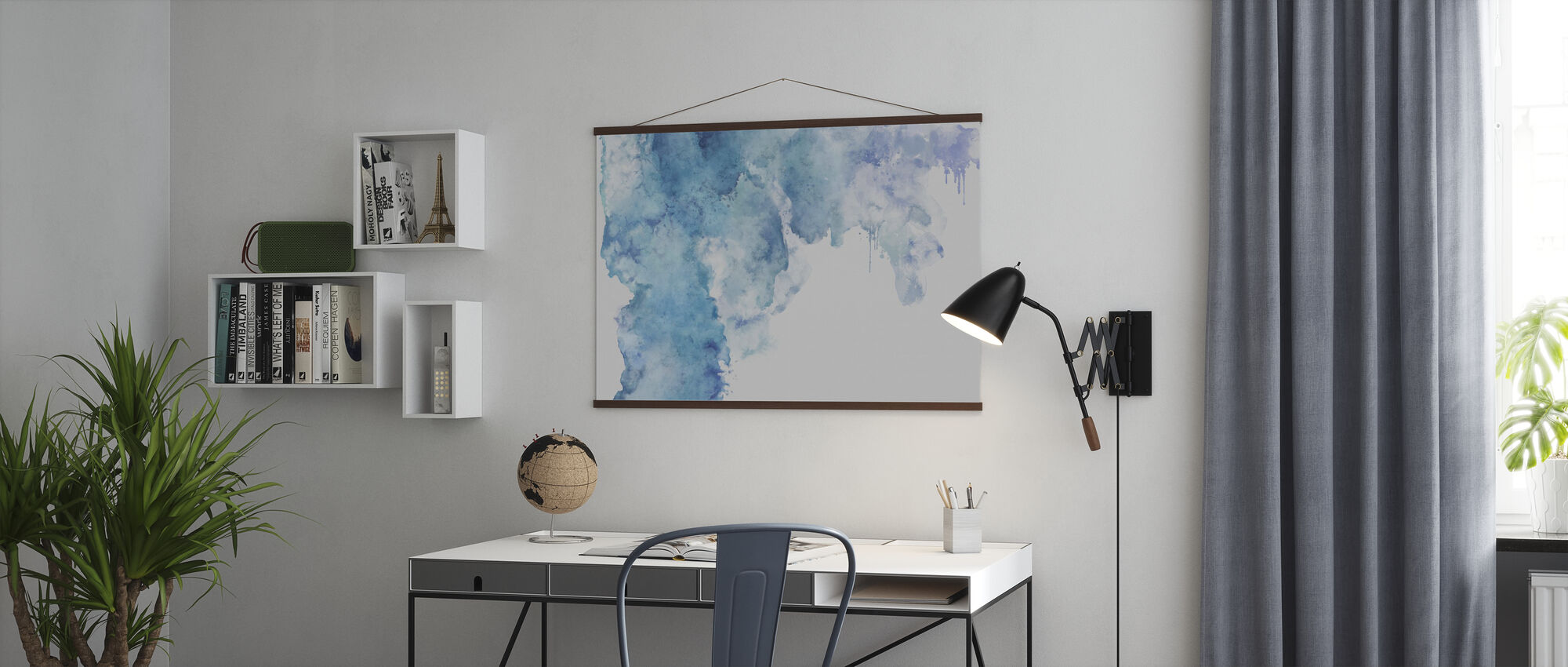 Blue watercolor Stain - Poster - Office