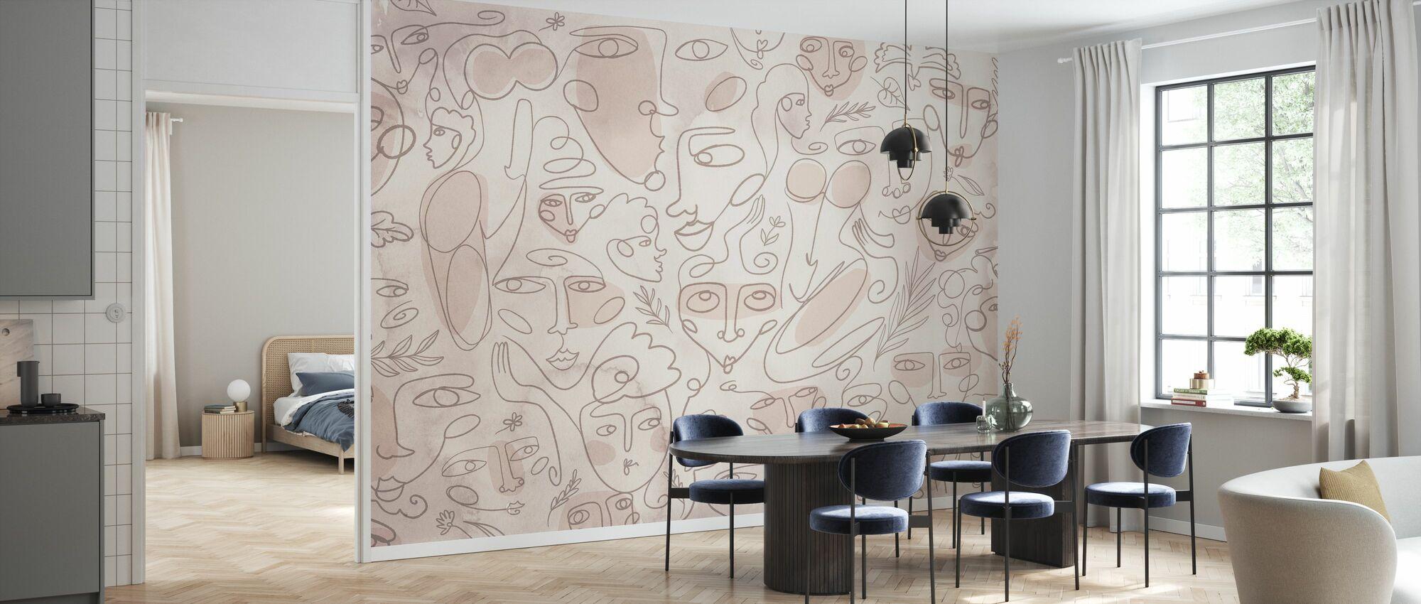 Line Faces - Beige - Wallpaper - Kitchen
