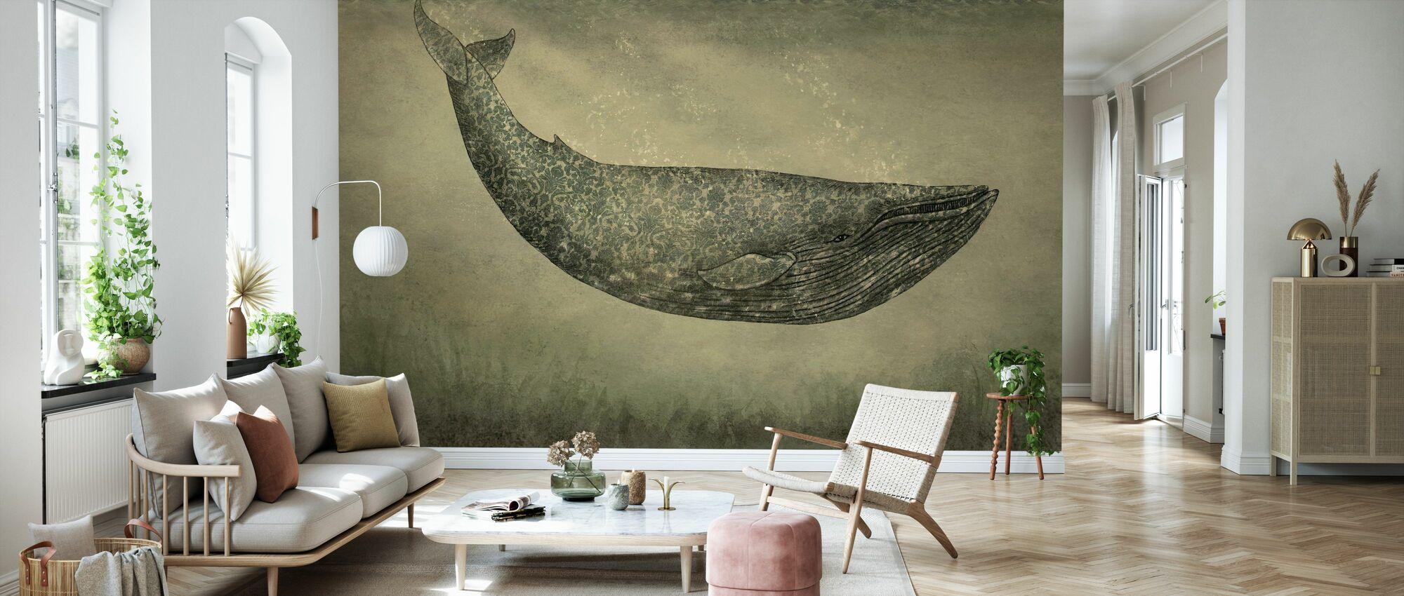 Damask Whale - Wallpaper - Living Room