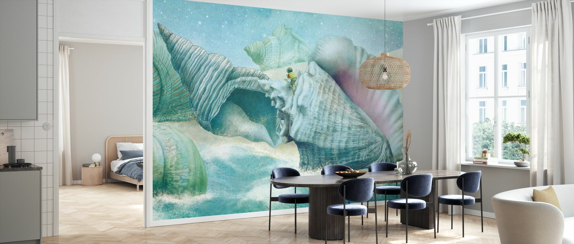 Ocean Meets Sky Shell Island - Wallpaper - Kitchen