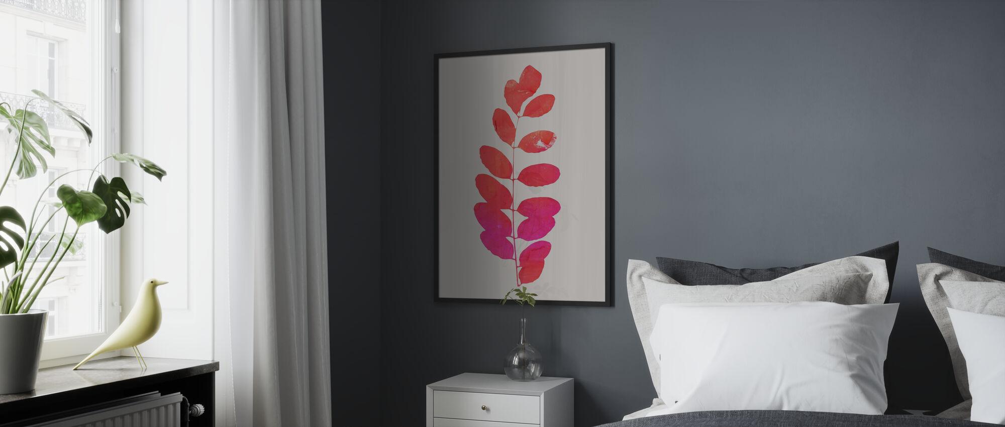 Leaf - Pink - Framed print - Bedroom