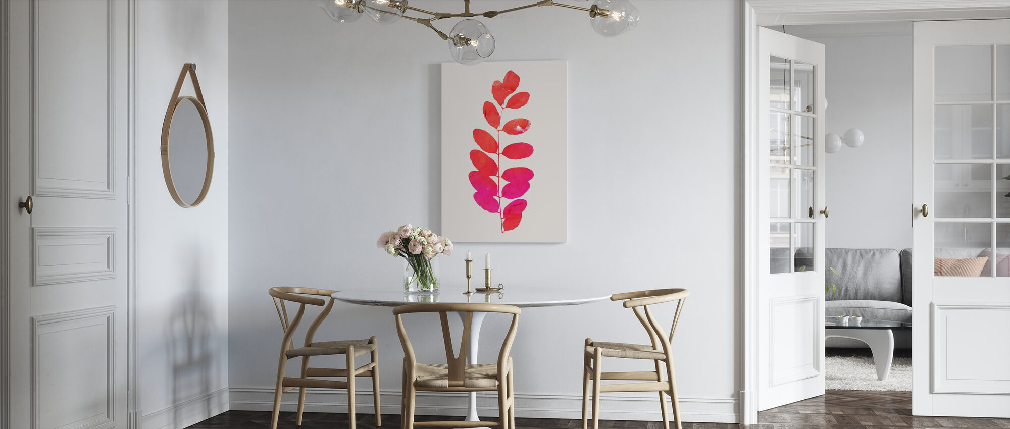 Leaf - Pink - Canvas print - Kitchen